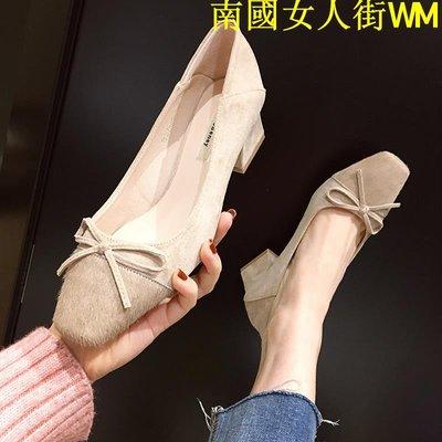 南國女人街WM日系方頭淺口中跟鞋白領OL氣質粗跟鞋2019新款蝴蝶結單鞋上班女鞋