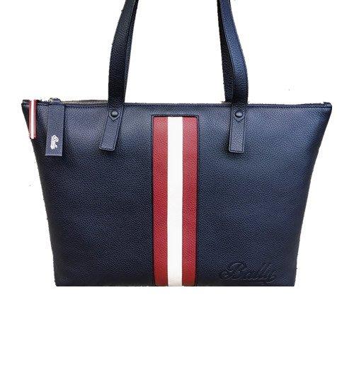 二手旗艦 BALLY 全新商品 深藍色 牛皮 紅白紅 上拉鍊 雙肩帶 托特包 購物包 (中友店) 03506
