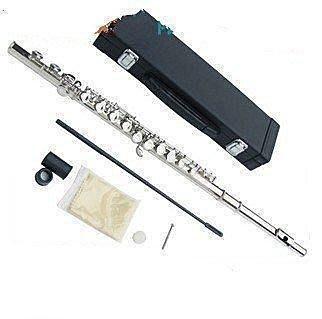 現貨!高檔長笛專業演奏級16孔加E鍵C調 笛子樂器正品鍍鎳銀色長笛初學者長笛帶高檔盒子初學者樂器 長笛樂器 樂隊表演樂器