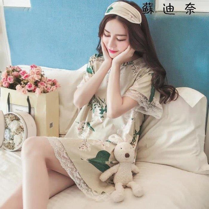 【全店免運】棉質睡衣 睡裙短袖純棉睡衣蕾絲公主家居服 『幸福小築』