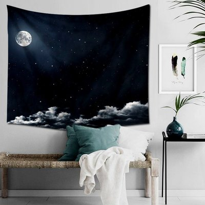 星空掛毯-牆壁裝飾毯 掛布 月亮掛畫 夜空掛毯 臥室 客廳牆壁背景布(130*150cm)_☆優購好SoGood☆