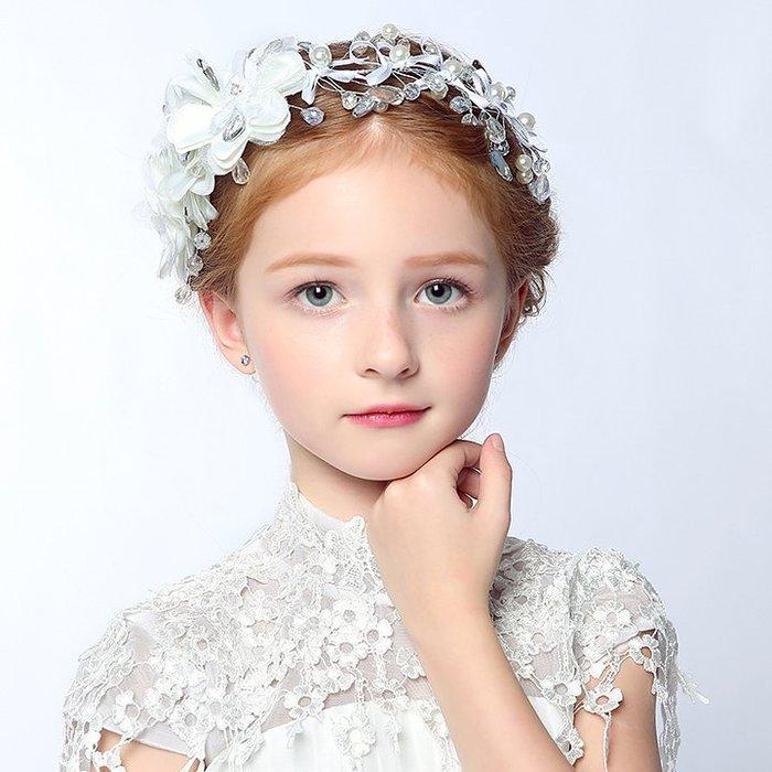 【Kathie Shop】兒童公主髮飾韓國女孩珍珠花朵髮飾花童頭飾白色配飾禮服演出頭飾