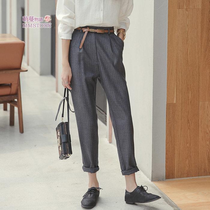 煙管西裝條紋寬褲(送腰帶) M-XL  萌蔓物語【KX4093】韓氣質女上衣