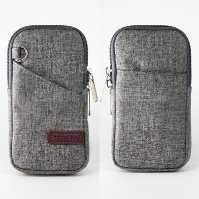 【GooMea】3免運 Nokia諾基亞 1 Plus 5.45吋拉鍊款 亞麻布 手拿袋 手機套 手機殼 手拿頸掛 灰色
