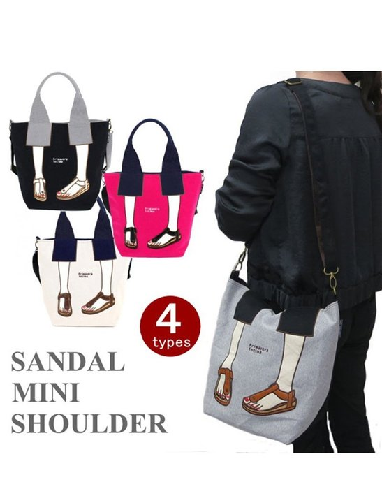 日本 Mis zapatos 刺繡楔形鞋二用包 帆布包包 美腿包 肩背包 斜背包 側背包 後背包 錢包 化妝包 手提包