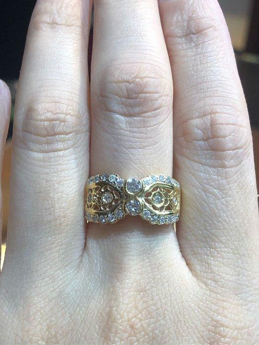 總重62分天然鑽石黃K金戒指,超值優惠價17800,古典造型設計款式適合平時配戴,精選商品只有一個要買要快