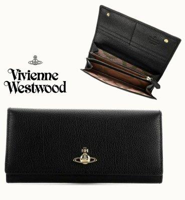 Vivienne Westwood ( 黑色×金屬銀色土星LOGO)  栗紋 真皮 兩摺長夾 皮夾 錢包|100%全新正品|特價! 數量稀少下標前請詢問