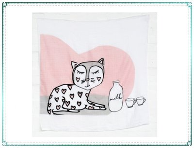 【Q寶寶】澳洲 Kippins 有機棉包巾 MUSLIN WRAP & SNOOZE BLANKET 凱蒂小貓_現貨