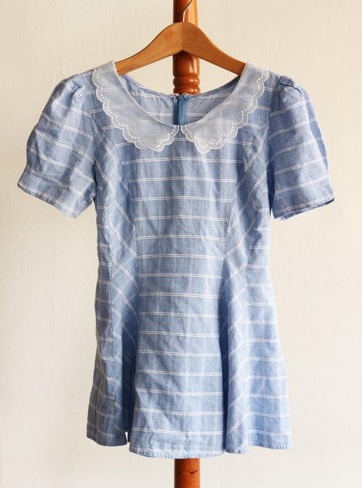 日本Secret Honey藍色領蕾絲公主袖後綁上衣-貨號:司2F貴-i本p32【一身衣飾-Wunder welt參考】