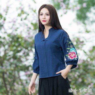 民族風上衣 T恤女秋新款刺繡襯衫寬鬆V領中袖復古棉麻娃娃衫上衣 df6690- -獨品飾品吧☂