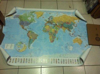 ##進口海報 G-03 全新 WORLD MAP 英文國旗版世界地圖 100x140cm 運送含海報筒