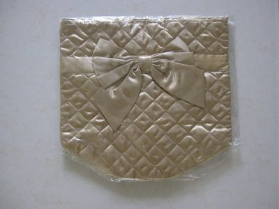 NaRaYa曼谷包 香檳金菱格紋蝴蝶結水桶包水餃包 底部圓桶型、開口綁巾