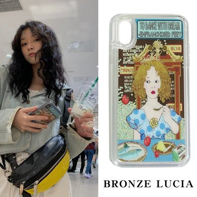 W哎咪手機配件~Bronze Lucia洪一諾同款iphonexsmax手機殼流沙xr創意蘋果x女8p潮