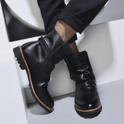 男靴 男鞋冬季靴加絨保暖防滑羅馬風格皮-小精靈