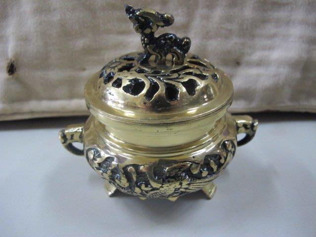 二手舖 NO.4276 銅雕 銅香爐 盤香爐 雕工細膩 擺件收藏