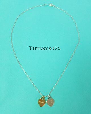 TIFFANY & CO.  18K金  雙愛心項鍊, 保證真品 超級特價便宜賣