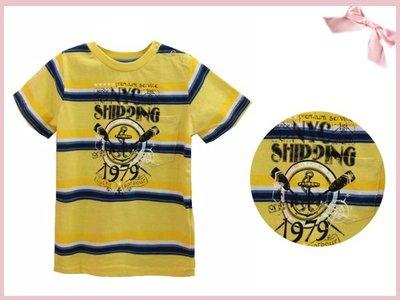 【童夢屋】澳洲pumpkin patch黃色條紋海洋短袖上衣.T恤.棉T.2T.特價【S1TB11085Z】~12