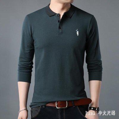 POLO衫大碼長袖T恤男棉質青年襯衫領寬鬆秋衣外穿潮流胖加肥加大 JY11124