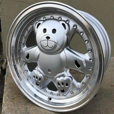 全新teddy bear rims 超可愛小熊框 鉚釘深唇類三片式 15吋 4孔100/114皆可裝