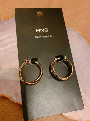 Mango very grand elegant light gold circles earrings asos zara 外國純銀金色簡約雙圈耳環 襯衫