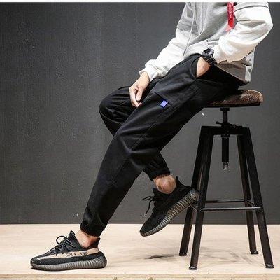 潮牌工裝褲男修身多口袋休閒秋冬束腳收口大碼小腳多袋縮腿收腳褲
