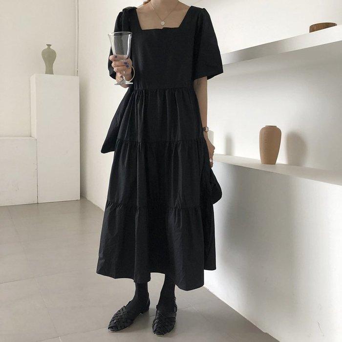 SeyeS  復古森林古著自然風黑色方領長版寬鬆蛋糕洋裝
