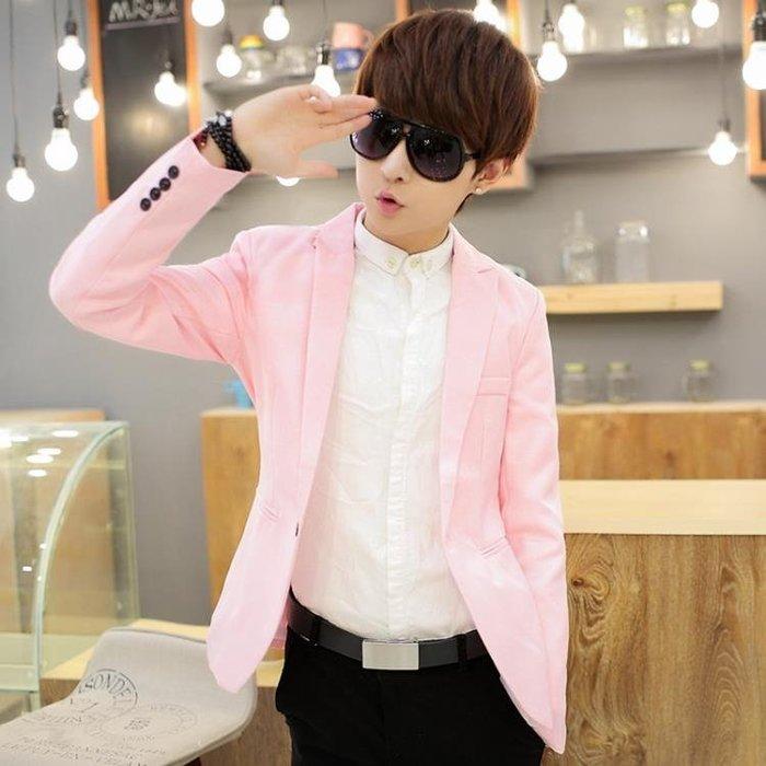 (低價衝量)2018潮男修身韓版青年粉色西裝青少年春季日系休閒小西服男裝外套
