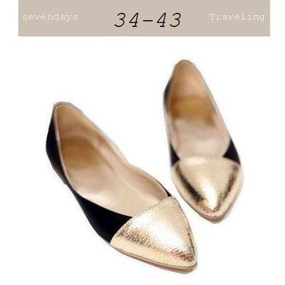 大尺碼女鞋小尺碼女鞋爆裂金拼接尖頭舒適娃娃鞋平底鞋包鞋女鞋黑色(34-43)現貨#七日旅行
