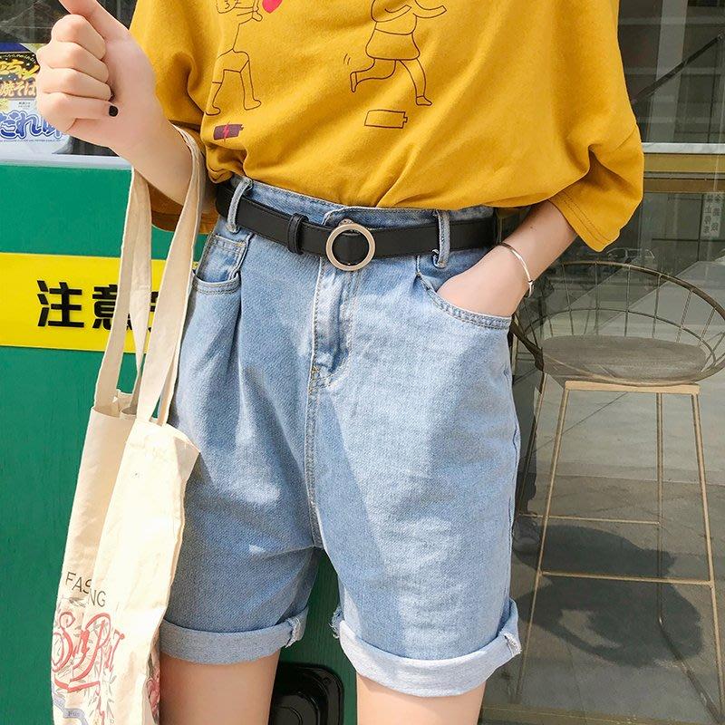 復古高腰牛仔短褲女寬松夏韓范卷邊顯瘦五分直筒褲學生bf百搭中褲