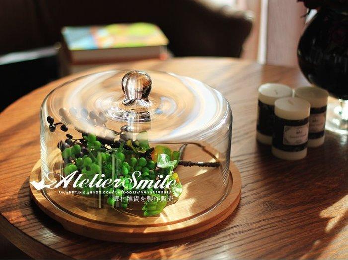 [ Atelier Smile ] 鄉村雜貨 日本直送 竹製底座 厚實玻璃 蛋糕點心拖盤 28CM (現+預)