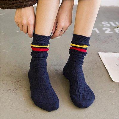 秋冬加厚全棉堆堆襪韓國學院風二杠中長筒襪女日系百搭學生短襪子