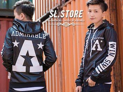 SL Store【D5335】特殊亮面字母圖樣造型連帽外套‧黑/銀灰/M/L/XL