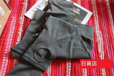 E3007日本大牌深灰色踩腳高腰加檔連身襪打底褲