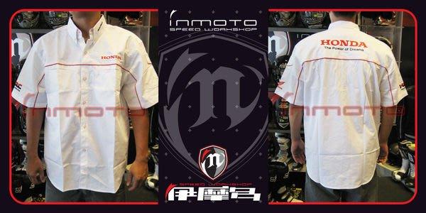 伊摩多※HONDA原廠 經理衫~簡單有型/帥氣白與紅配色TS414WH(XXL)