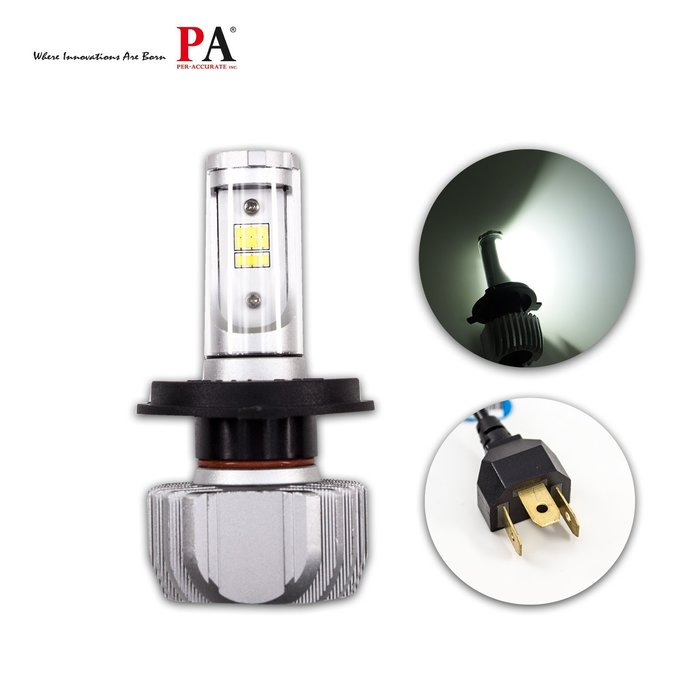 【PA LED】H4 H17 HS1 LED 五色DIY自由選 白光 黃光 大燈 頭燈 超強聚光切線 買一送二