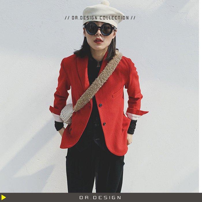 10/28新品►DR.DESIGN│DR31735-暗黑小眾 經典 收腰復古 羊毛 小西裝外套 紅色/深棕色