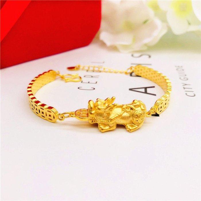 送禮佳品 新款銅錢紋金貔貅手鏈女黃銅鍍金久不掉色仿黃金越南沙金飾品手鐲