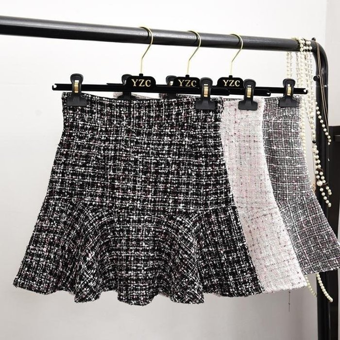 里可本鋪 正韓高腰魚尾裙亮絲毛呢半身裙顯瘦荷葉邊A字短裙女LCC86