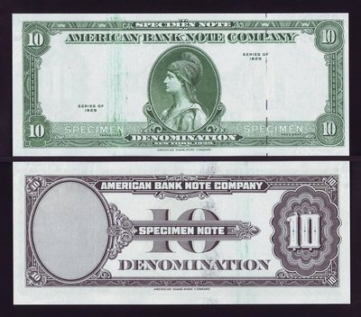 瀚海收藏~美國-美鈔銀行鈔SPECIMEN票樣(綠版2)1929年雕刻版+防偽線