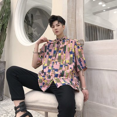 襯衫 韓版 2019夏季短袖領帶休閑男士發型師襯衫韓版寬松BF粉色酒吧歌手襯衣