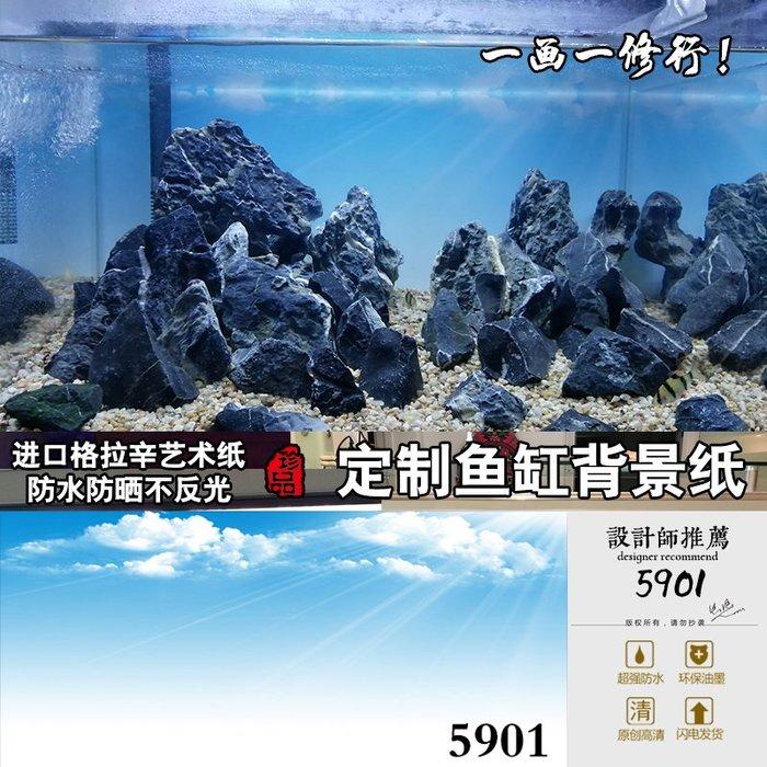DREAM-魚缸背景紙畫高清圖3d立體水族箱貼紙龍魚缸壁紙裝飾造景天空5901