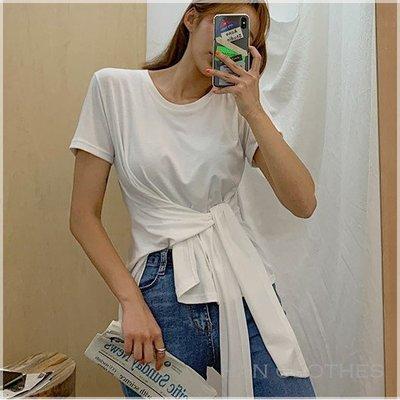 隨興簡單純色綁腰造型T恤。韓國空運。MB0715。正韓 * KOREA 韓衣角!han clothes