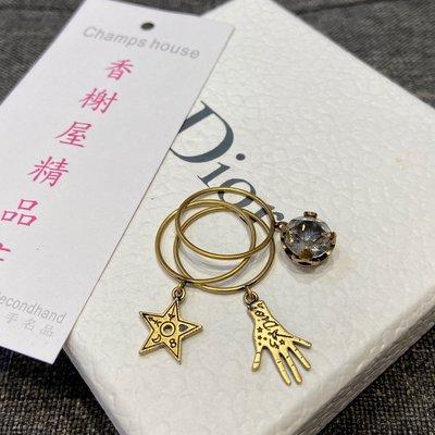 ⭐️ 香榭屋精品店 ⭐️ Christian Dior CD 古銅金水鑽星星手掌 三環戒指 飾品 (XB8447) 波希米亞風