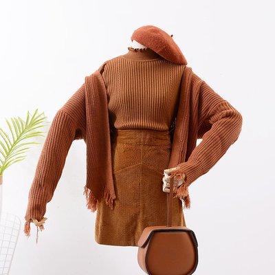 正韓【/】J@10  毛衣外套女秋冬加厚針織毛邊毛衣