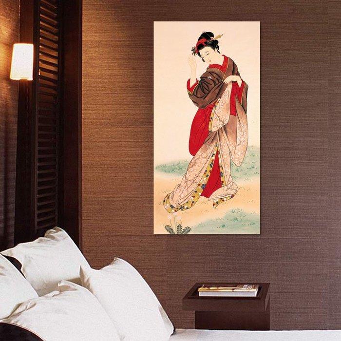掛畫 壁畫 日本仕女圖裝飾畫浮世繪榻榻米豎版壽司店料理店壁畫酒店日式掛畫