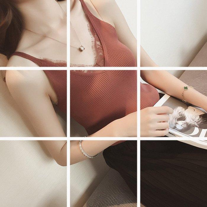 新款鉤花蕾絲拼接V領吊帶背心女針織短款修身外穿上衣潮