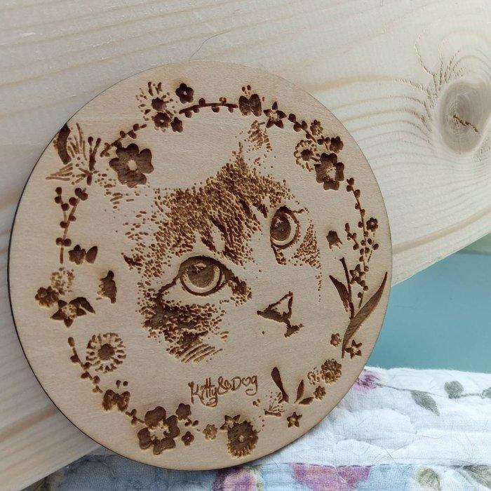 Kitty&Dog客製化原木雕刻/相片雕刻/寵物紀念牌/木牌/杯墊/吊飾