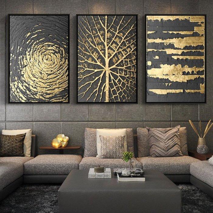 ABOUT。R  時尚黑金色抽象掛畫高檔餐廳壁畫玄關掛畫歐美客廳裝飾畫歐式工作室裝飾畫商業空間設計掛畫 (16款可選)