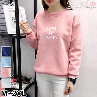 【V9760】SMILE-簡單色調.字母圓領刷毛長袖上衣
