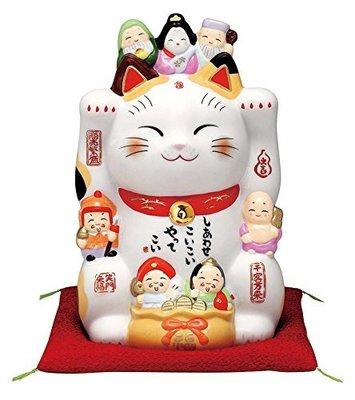薬師窯(Yakushigama) 日本正版 彩绘七福神招き猫 ( 8号 ) 7601 高23.5